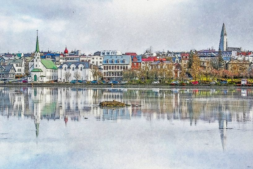 Tjörninmeer, Reykjavik, IJsland van Frans Blok
