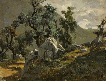 Carlos de Haes-Bergwegbomen landschap, Antiek landschap