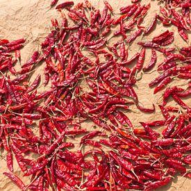 Pepers drogen in de zon van Rijk van de Kaa