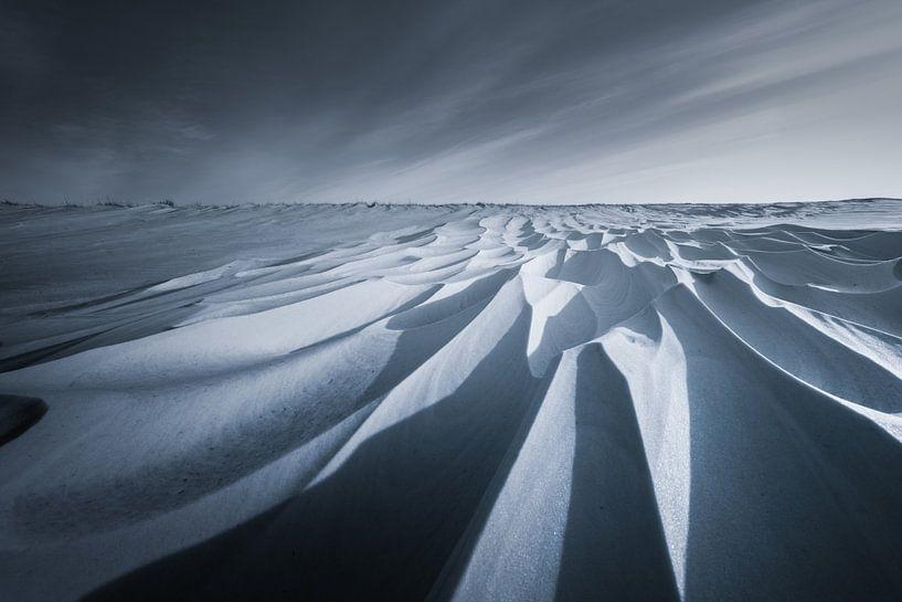 Sneeuwduinen in het Nationaal park Lauwersmeer in Groningen na een sneeuwstorm in zwart wit. De mooi van Bas Meelker