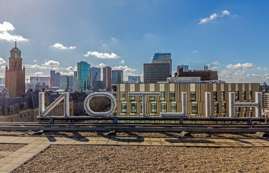 Het uitzicht vanaf het dak van het Hilton Hotel in Rotterdam van MS Fotografie