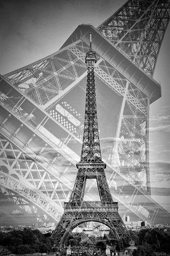 Eiffel Tower Double Exposure II | Monochrome van Melanie Viola