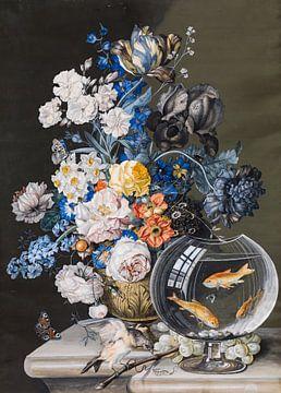 Blumenstillleben mit Goldfischglas, Leopold Zinnögger
