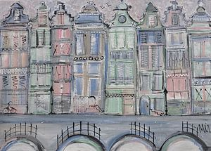 Grachtengordel pastel van Kunstenares Mir Mirthe Kolkman van der Klip