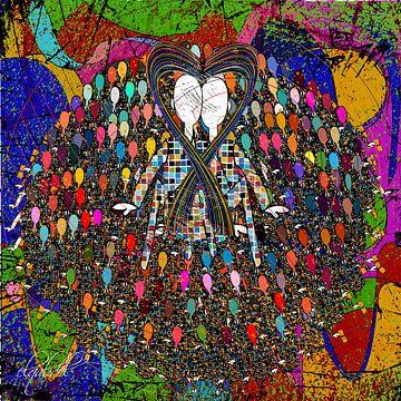 kleurrijke digitale abstracte kunst van een liefhebbend paar van EL QOCH