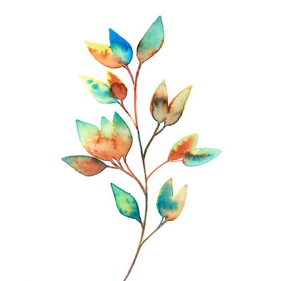 Kleurrijke Bladeren in Aquarel | Schilderij