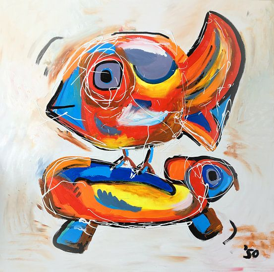Vrolijk Cobra stijl werk van een vogel en een schilpad van Nicole Roozendaal