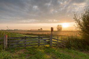 Polderlandschap Alblasserwaard bij zonsopkomst van