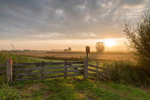 Polderlandschap Alblasserwaard bij zonsopkomst