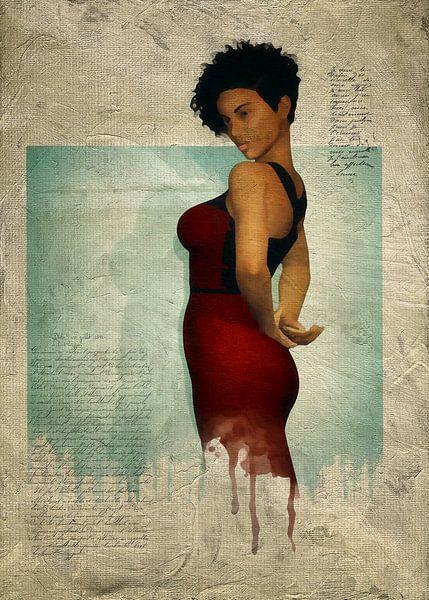 Vrouw van de wereld - Laverne met rode jurk van Jan Keteleer