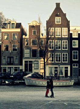 Amsterdam Prinsengracht  in de winter  van