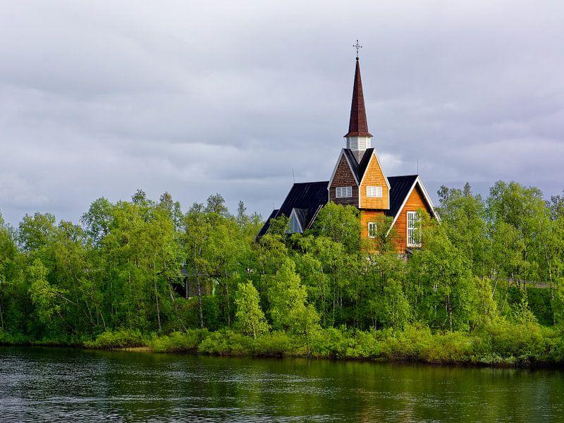 Church in Swedish Lapland van Gisela Scheffbuch