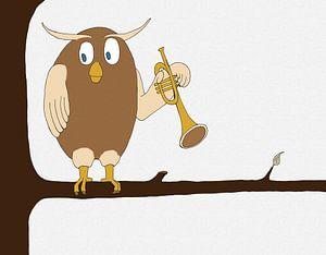 Illustratie van een uil met een trompet