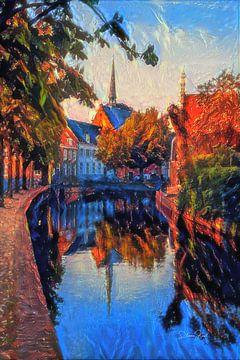 Kleurrijk schilderij Amersfoort: rood getinte Westsingel