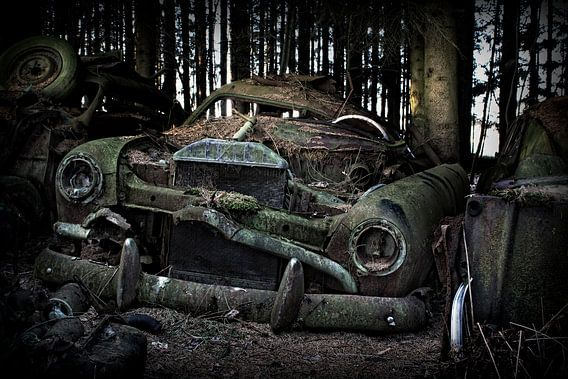 Vervallen auto van Eus Driessen