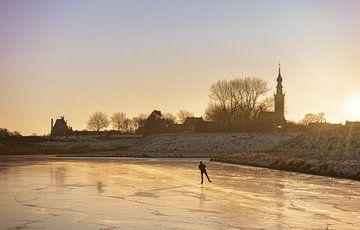 Eenzame schaatser in Veere