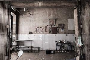 Een verlaten restaurant in Phnom Penh van