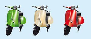 Drie Vespa scooters in de Italiaanse kleuren