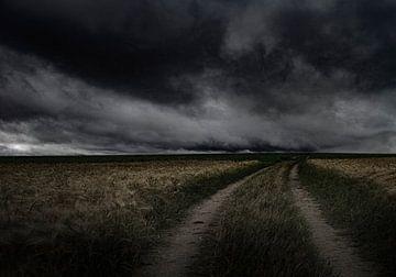 leeg landschap met woeste lucht van Henk Speksnijder