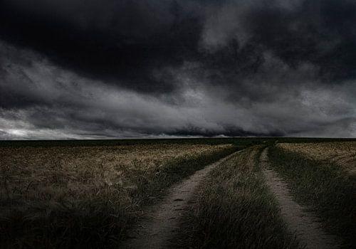 empty landscape with heavy cloudy sky sur