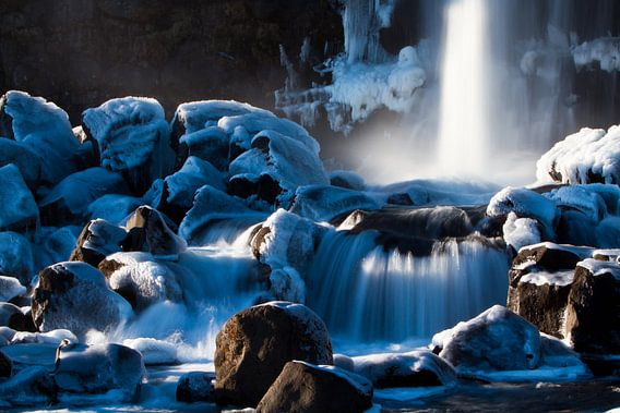 Öxarárfoss waterval (IJsland) van Marcel Antons