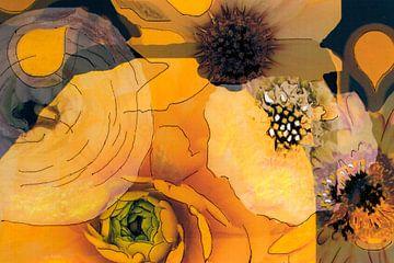 Mixed media met verschillende bloemen in geel en bruin tinten. van Therese Brals