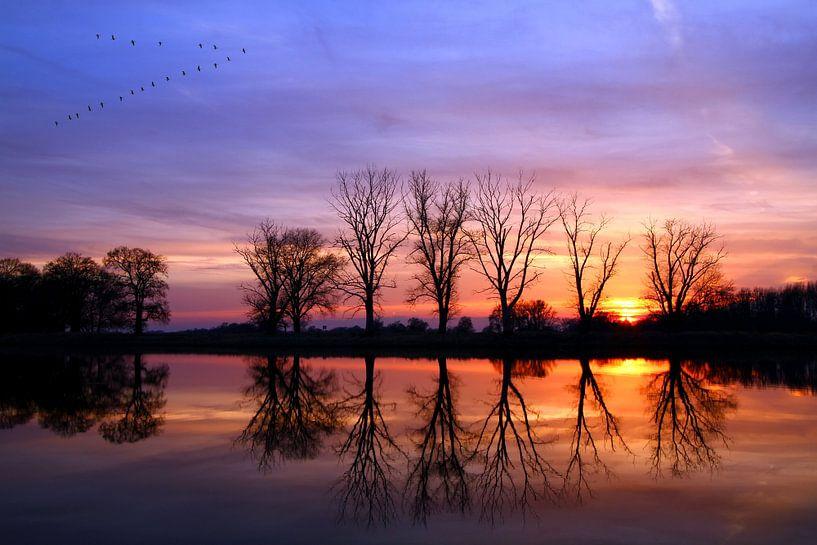 Sonnenuntergang an der Elbe von Heiko Lehmann