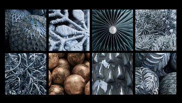 Collage Weihnachten in Blau und Gold von Yke de Vos