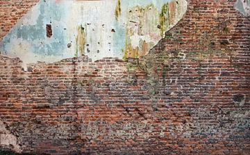 Baksteen oude muur  Hoge resolutie Full frame camera  vr Fotobehang 6 van Olivier Van Cauwelaert
