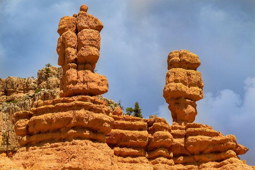 Bryce Canyon uitzicht met twee kleurrijke stenen pilaren van Jan van Dasler