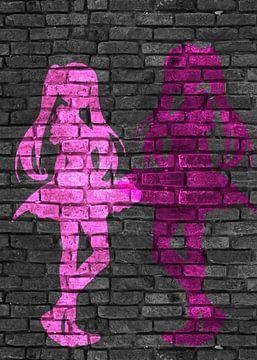Anime Silhouetten rosa und pink von KalliDesignShop