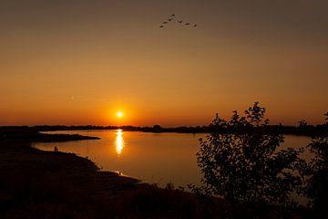 Zonsondergang aan de Lek van Maren Oude Essink