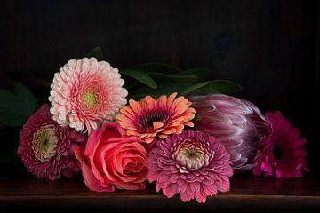 Bloemen in baroque stijl, olieverfsuggestie van Marion Moerland