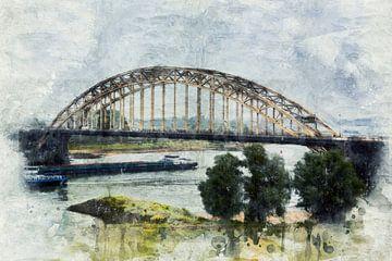 Die Waalbrücke in Nijmegen (Gemälde) von Art by Jeronimo
