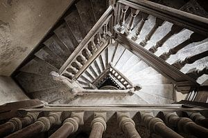 Staircase in abandoned villa