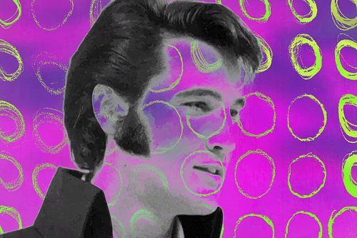 Elvis Presley Abstract Pop Art Portret in  Roze Geel