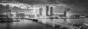 Skyline Rotterdam Erasmusbrug - Zwart Wit van Vincent Fennis