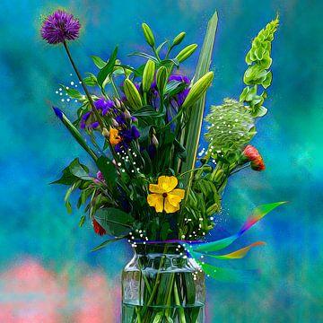 Voorjaarsbloemen in vaas achtergrond turquoise van ellenilli .