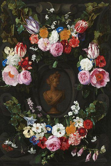 Festoen van bloemen om een buste van Flora - Jan Philip van Thielen van Marieke de Koning