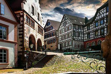 Oude stad met vakwerkhuizen van Jürgen Wiesler
