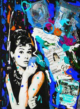 Audrey Hepburn iPhone Blau von Kathleen Artist Fine Art
