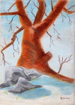 Baum im Schnee von Yvonne Smits