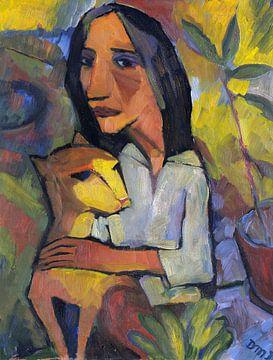 Junge Frau mit Katze, Dorothea Maetzel-Johannsen, Um 1919 von Atelier Liesjes