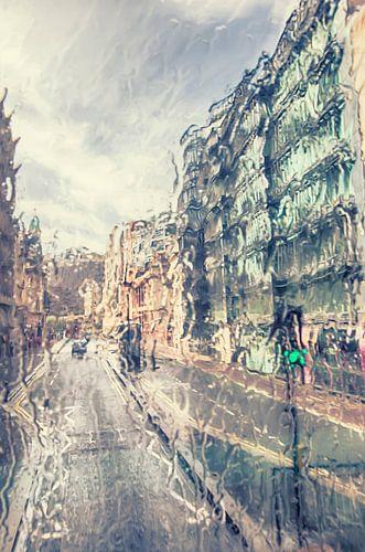 London in rain van