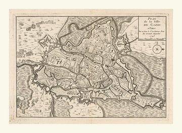 plattegrond van Gent (België) anno ca 1745, met wit kader van Gert Hilbink