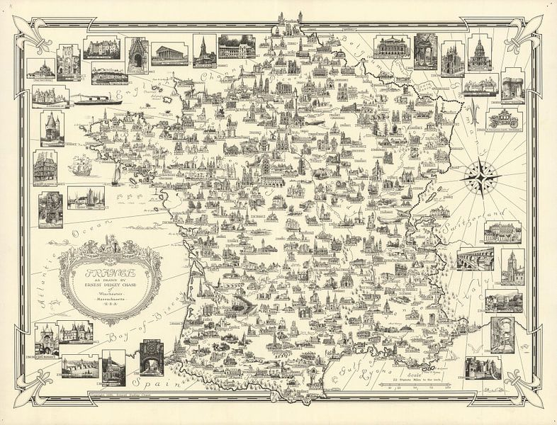Frankrijk by Ernest Dudley Chase van World Maps