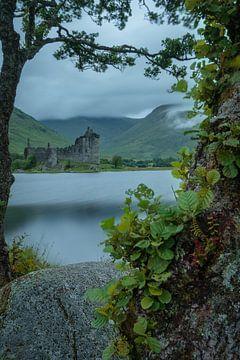 Het Kilchurn kasteel in Schotland met een frame van takken en bladeren van Anges van der Logt