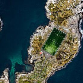 Voetbalveld omgeven door water van William Linders