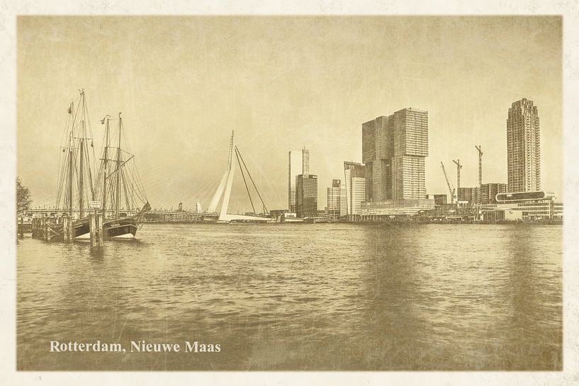 Oude ansichten: Rotterdam Nieuwe Maas van Frans Blok