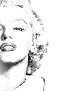 Marilyn Monroe High Key Portret Zwart Wit van Art By Dominic
